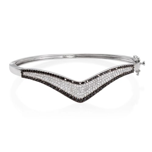 Brand New Black Diamond (Rnd) Wishbone Bangle (Size 7.5) in Platinum Overlay Sterling Silver 2.750 Ct.