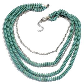 Howlite Necklace (Size 18) in Silver Tone With Stainless Steel 174.690 Ct.