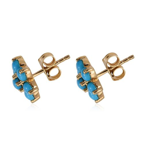 Arizona Sleeping Beauty Turquoise (Rnd) Floral Stud Earrings (with Push Back) in 14K Gold Overlay Sterling Silver 1.750 Ct.