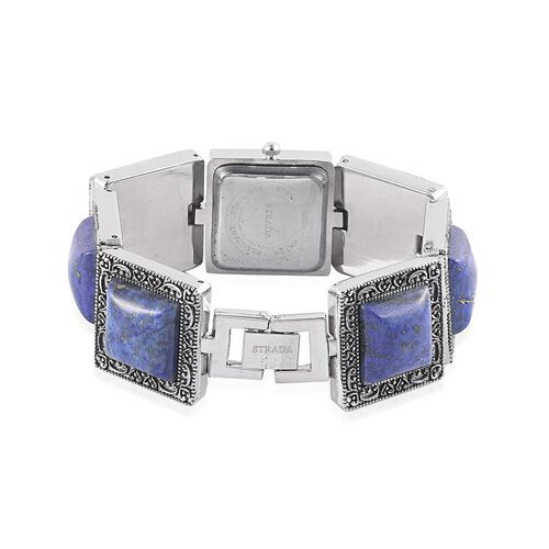STRADA Japanese Movement White Dial Water Resistant Watch in Silver Tone With Stainless Back and Lapis Lazuli Strap 88.000 Ct.