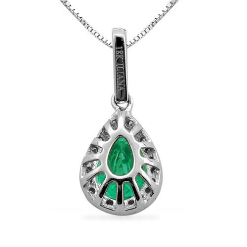 ILIANA 18K W Gold Boyaca Colombian Emerald (Pear 0.89), Diamond Pendant With Chain 1.004 Ct.