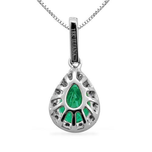 ILIANA 18K W Gold Boyaca Colombian Emerald (Pear 0.89), Diamond Pendant With Chain 1.004 Ct.