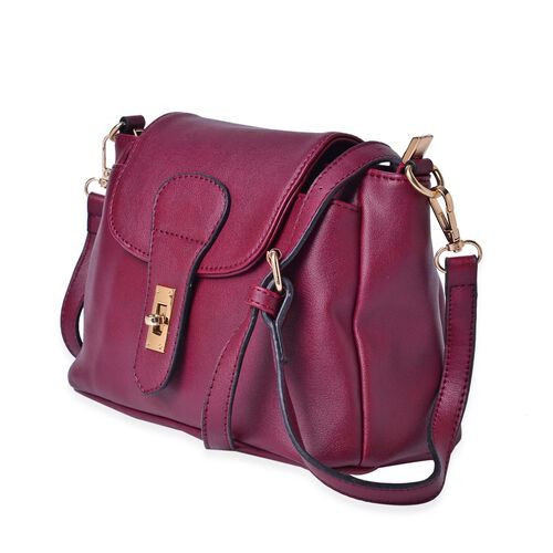 Kingston Burgundy Colour Crossbody Bag with Adjustable and Removable Shoulder Strap (Size 24x18x11 Cm)