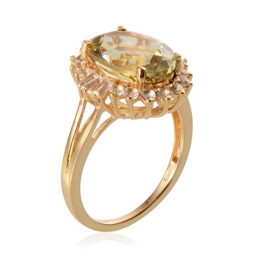 Brazilian Green Gold Quartz (Ovl 5.50 Ct), White Topaz Ring in 14K Gold Overlay Sterling Silver 6.500 Ct.