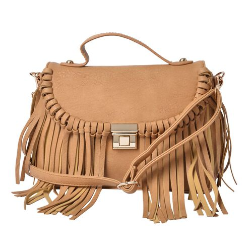 Beige Colour Crossbody Bag with Tassels and Removable, Adjustable Shoulder Strap (Size 26x20x11.5 Cm)