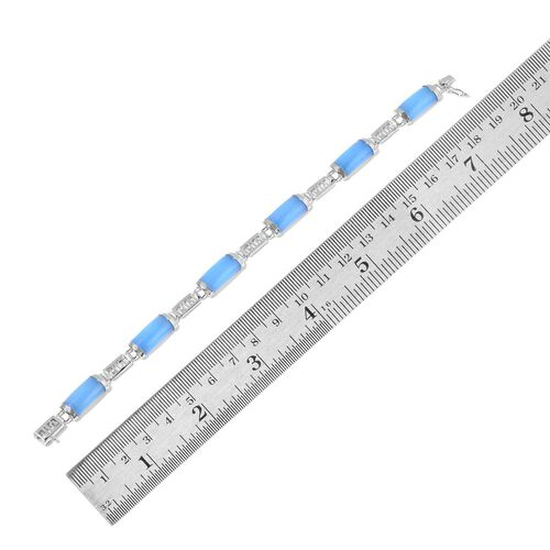 Light Blue Jade Chinese Character WAN (Abundance) Bracelet (Size 7.5) in Rhodium Plated Sterling Silver 28.000 Ct.