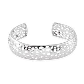 Coral Reef Design Cuff Bangle (Size 7.5) in ION Plated Platinum Bond