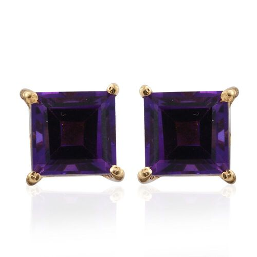 Amethyst 2 Carat Silver Solitaire Stud Earrings in Gold Overlay
