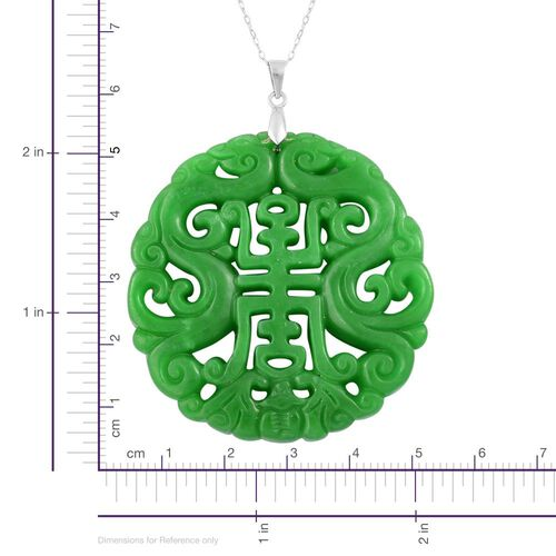 Limited Edition - AAA Green Jade Pendant with Chain for Happiness and Blessings in Rhodium Plated Sterling Silver 114.000 Ct.