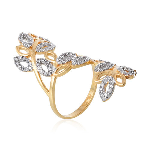 Simulated White Diamond Leaves Crossover Ring in Gold Bond