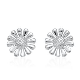 LucyQ Floral Stud Earrings (with Push Back) in Rhodium Plated Sterling Silver 4.35 Gms.