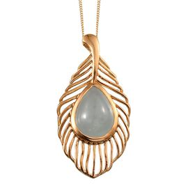 Espirito Santo Aquamarine (Pear) Feather Pendant With Chain 14K Gold Overlay Sterling Silver 8.500 Ct.