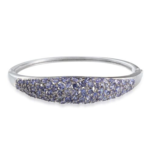 AA Tanzanite Bangle in Platinum Overlay Sterling Silver (Size 7.5) 11.000 Ct.