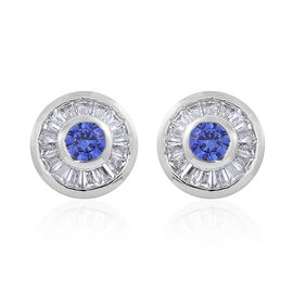 ELANZA AAA Simulated Tanzanite (Rnd), Simulated White Diamond Stud Earrings (with Push Back) in Rhodium Plated Sterling Silver