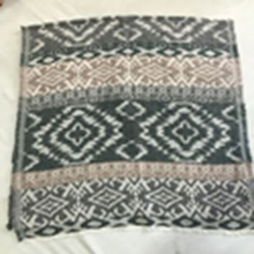 Blend of Cotton, Acro and Mohair Beige, Grey and Green Colour Geometric Pattern Scarf (Size 180x75 Cm)
