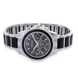 STRADA Japanese Movement Chronograph Look Black Dial White Austrian Crystal Water Resistant Watch in Silver Tone with Black Resin Strap