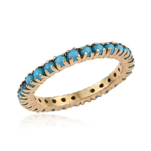 Arizona Sleeping Beauty Turquoise (Rnd) Full Eternity Ring in 14K Gold Overlay Sterling Silver 1.750 Ct.