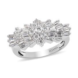 ILIANA 18K W Gold 1 Carat Diamond Star Burst Ring, IGI Certified (SI/G-H)
