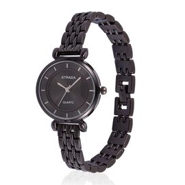 STRADA Japanese Movement Black Sunshine Pattern Dial Water Resistant Watch in Black Tone with Stainless Steel Back and Chain Strap