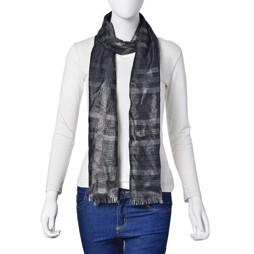 Checks Pattern Silver and Black Colour Scarf (Size 180x70 Cm)