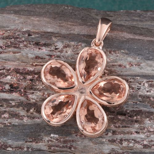 Galileia Blush Pink Quartz (Pear) Floral Pendant in Rose Gold Overlay Sterling Silver 7.250 Ct.