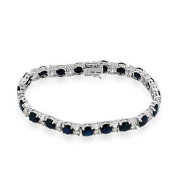 Diffused Blue Sapphire (Rnd), White Topaz Bracelet in Rhodium Plated Sterling Silver (Size 8) 35.000 Ct.
