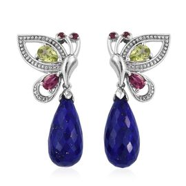 GP Lapis Lazuli, Hebei Peridot, Rhodolite Garnte and Kanchanaburi Blue Sapphire Butterfly Drop Earrings (with Push Back) in Platinum Overlay Sterling Silver 19.500 Ct.