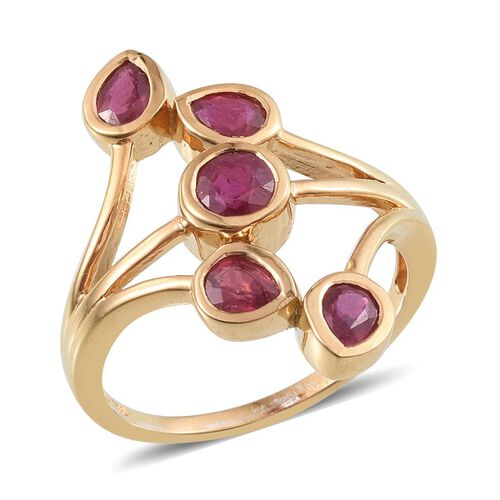 African Ruby (Rnd 0.50 Ct) Ring in 14K Gold Overlay Sterling Silver 2.000 Ct.