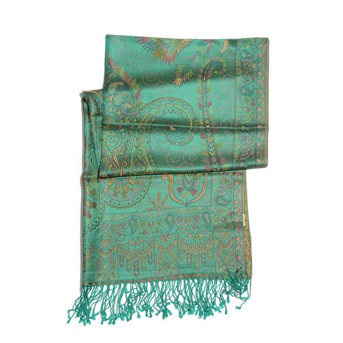 SILK MARK - 100% Superfine Silk Golden and Multi Colour Paisley and Leaves Pattern Green Colour Jacquard Jamawar Shawl with Fringes (Size 180x70 Cm) (Weight 125-140 Grams)