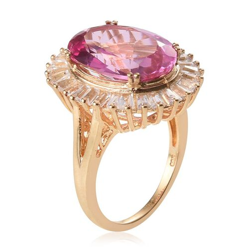 Mystic Pink Coated Topaz (Ovl 13.50 Ct), White Topaz Ring in 14K Gold Overlay Sterling Silver 16.250 Ct.