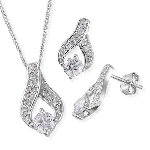 AAA Simulated Diamond (Rnd) Pendant With Chain and Earrings in Platinum Overlay Sterling Silver