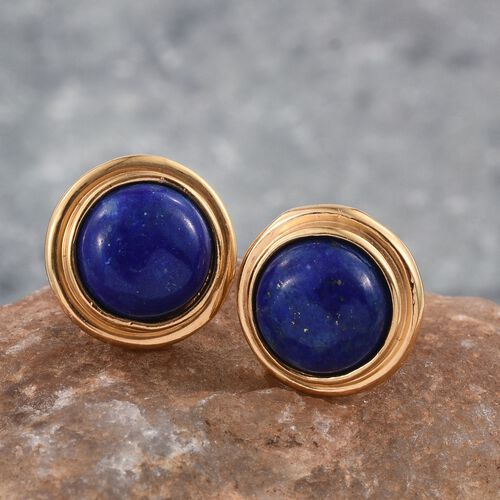 Lapis Lazuli (Rnd) Stud Earrings (with Push Back) in 14K Gold Overlay Sterling Silver 4.000 Ct.