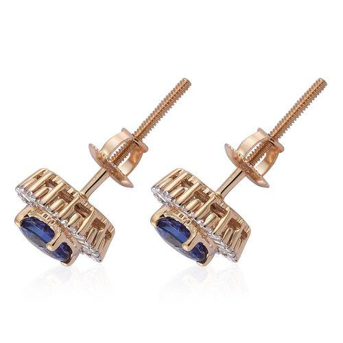 ILIANA 18K Yellow Gold 0.99 Ct AAA Tanzanite Halo Stud Earrings with Diamond