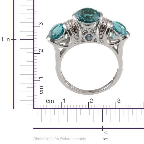 Paraiba Tourmaline Colour Quartz (Ovl 2.75 Ct), Blue Topaz and Diamond Ring in Platinum Overlay Sterling Silver 5.920 Ct.