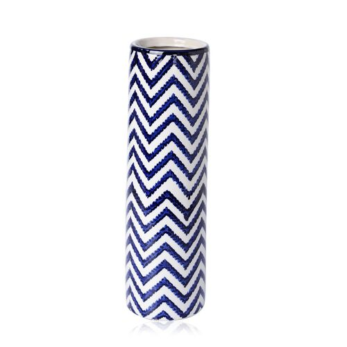 Classic Chinese Blue Colour Chevron Pattern White Colour Flower Vase (Size 40 Cm)