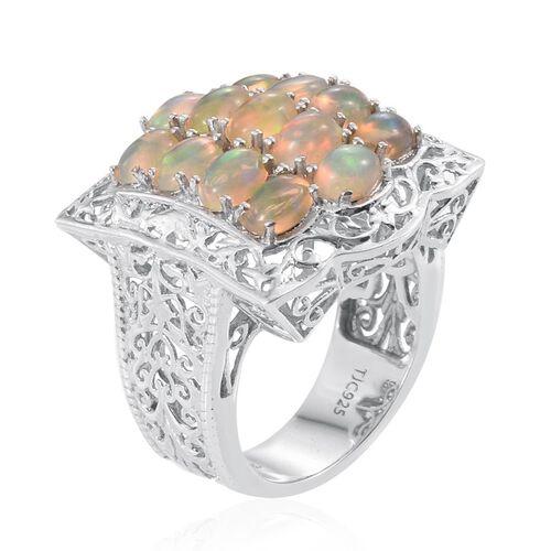 Royal Jaipur Ethiopian Welo Opal (Ovl), Burmese Ruby Ring in Platinum Overlay Sterling Silver 4.020 Ct.