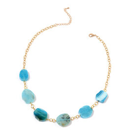Dyed Blue Agate Necklace (Size 20 with 2 inch Extender) in Gold Tone 18.000 Ct.