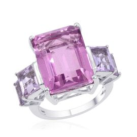 Kunzite Colour Quartz (Oct 11.00 Ct), Rose De France Amethyst Ring in Platinum Overlay Sterling Silver 13.750 Ct.