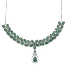 Kagem Zambian Emerald (Pear 0.50 Ct) Necklace (Size 18) in Platinum Overlay Sterling Silver 7.750 Ct.