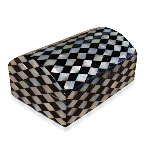 One Time Deal-Bali Collection MOP Shell Inlay Jewellery Box with Black Velvet Lining (Size 12X6X5 Cm)