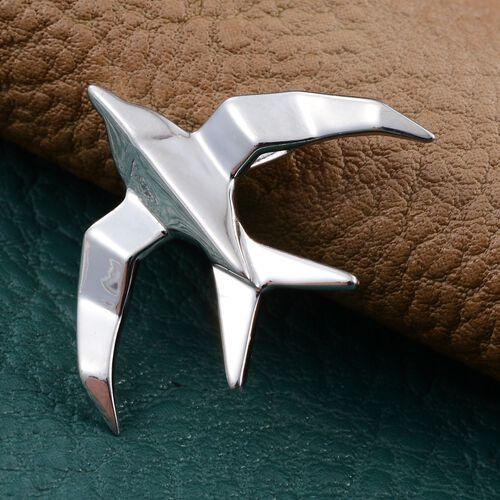 Origami Seagull Silver Pendant in Platinum Overlay