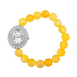 DOD - GENOA Japanese Movement White Dial with White Austrian Crystal Watch in Silver Tone with Stainless Back and Stretchable Yellow Agate Strap