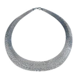 Vicenza Collection Rhodium Plated Sterling Silver Cleopatra Necklace (Size 17), Silver wt 43.16 Gms.