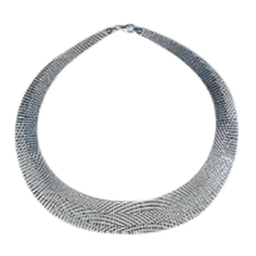 (Option 1) Vicenza Collection Rhodium Plated Sterling Silver Cleopatra Necklace (Size 17), Silver wt 43.16 Gms.