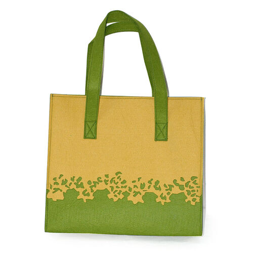 Green and Yellow Embroidery Tote Bag (Size 14x12x5 in)
