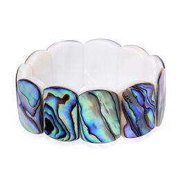 One Off Deal - Abalone Shell and White Shell Stretchable Section Bracelet (Size 7.5) 249.650 Ct.