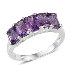 Amethyst (Oct) 5 Stone Ring in Sterling Silver 2.750 Ct.