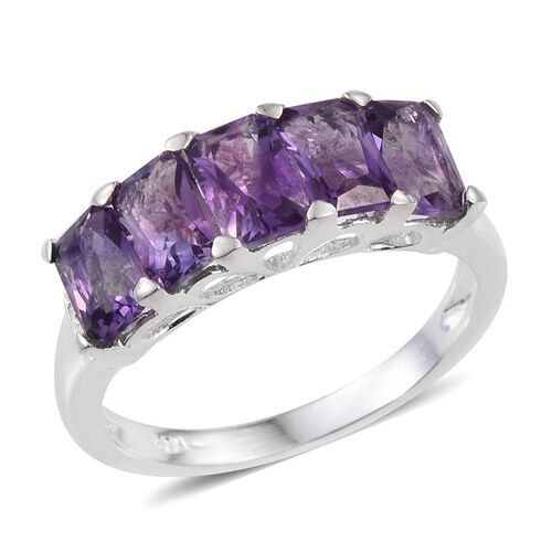 African Amethyst (Oct) 5 Stone Ring in Sterling Silver 2.750 Ct.