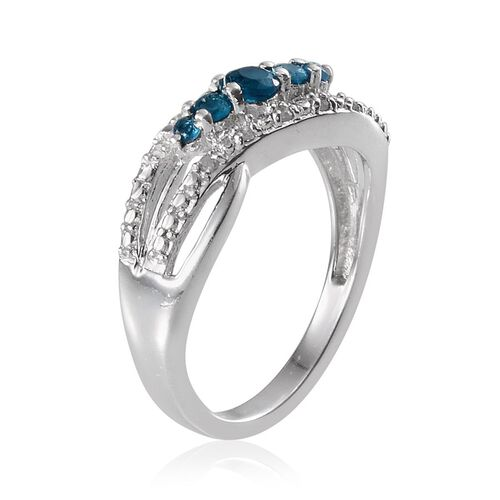 Malgache Neon Apatite (Rnd), Diamond Ring in Platinum Overlay Sterling Silver 0.300 Ct.