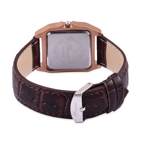 GENOA Japanese Movement Chocolate Colour Dial Water Resistant Watch in Rose Gold Tone with Stainless Steel Back and Chocolate Colour Strap